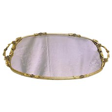 Vintage Matson 24K Gold Plated Ormalu Oval Mirror Vanity Tray Floral Decor Handles