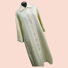 NOS Vintage Christian Dior Womens Cream Quilted Robe Sateen Lace Lg Bergdorf Goodman