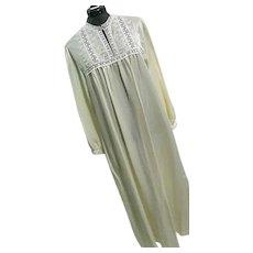 NOS Vintage Christian Dior Womens Cream Nightgown Sateen Lace Lg Bergdorf Goodman