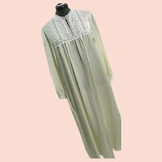 NOS Vintage Christian Dior Womens Cream Nightgown Sateen Lace Lg Bergdorf Goodman