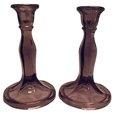 DEPRESSION ERA Vintage Cambridge Purple Amethyst Tall Candlesticks Pair