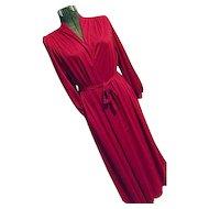 NOS Unused Vintage Miss Elaine 2PC Peignoir Set Bright Pink Medium Nightgown & Robe Tags