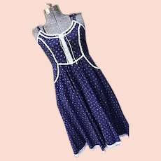 GUNNE SAX Vintage 1970s Womens Prairie Corset Dress Navy Blue Calico Lace Trim Sz 11