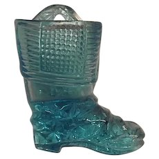 EAPG Vintage Sky Blue Glass Wall Mount Match Holder Boot