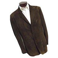 Couture John Varvatos Italy Mens Brown 100% Goat Suede Leather Blazer Jacket EU56 46
