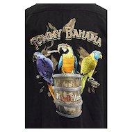 Vintage Tommy Bahama Mens Hawaiian Shirt Embroidered Rum Fellas Parrots Black