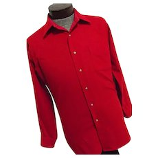 EXCELLENT Vintage 1960s Pendleton Mills USA Mens Solid Red 100% Virgin Wool Shirt Medium