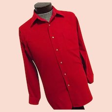 EXCELLENT Vintage 1960s Pendleton Mills USA Mens Solid Red 100% Virgin Wool Shirt Medium