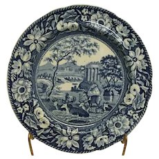 """ANTIQUE Early 1800s Staffordshire Pearlware Blue Transferware 8.5"""" Plate Stags"""