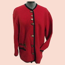 ADORABLE Geiger Austria Womens Wool Cardigan Sweater Embroidered Prairie Dogs 38