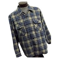 Vintage Pendleton Mens Blue Tan Plaid 100% Wool Board Shirt XL Lumberjack