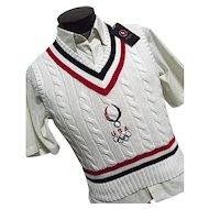 Polo Ralph Lauren 2008 Olympic Sweater Vest Med Team USA Bejing Tennis