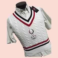 Polo Ralph Lauren 2008 Olympic Sweater Vest Med Team USA Bejing Tennis