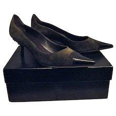 Giuseppe Zanotti Design Womens Green Suede Pumps Embellished Heels 8 Vicini