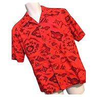 Vintage 1960s Ui Maikai Mens Hawaiian Shirt Red Planes Surfing Fish Names