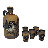 Vintage Mexican Pottery Decanter Set With Five Shot Glasses Tacat Painted Owl