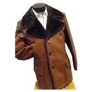 Vintage 1970s William Barry Men Leather Coat Faux Fur Lining 42 Wide Lapel