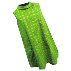 AUTHENTIC Vintage 1960s MOD Twiggy Dress Green With Polka Dots Med