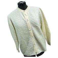 Wonderfully SOFT Vintage Dalton Womens Cardigan Sweater 100% Virgin Cashmere Ivory Med-Lg