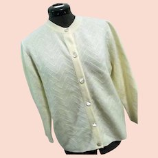 Wonderfully SOFT Vintage Dalton Womens Cardigan Sweater 100% Virgin Cashmere Ivory Med-Lg