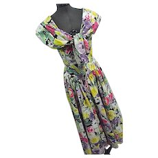 Vintage 1980s EXPO Womens Floral Prom Garden Tea Dress Basque Waist Shawl Collar Sz 8