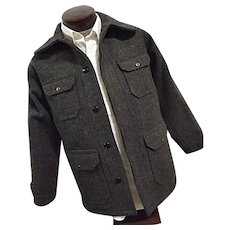 EXCELLENT Vintage 1950s Woolrich Mens Heavy Wool Cruiser Hunting Jacket Gray Stripes
