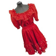 FULL TWIRL Vintage Womens Square Dance 2PC Skirt Top Set Red W/ Gold Swiss Dot M-L