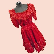 FULL TWIRL Vintage Womens Square Dance 2PC Skirt Top Set Red W/ Gold Swiss Dot M-L