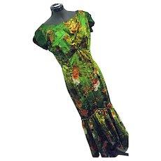 GLAMOROUS Vintage 1960s Hawaiian Togs Womens Maxi Wiggle Dress Green 12 Hostess