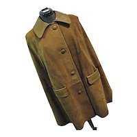 Vintage Soft Doeskin Suede Leather Womens Cape Button Down S-M