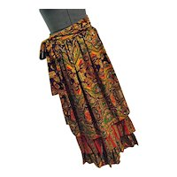 BOHO Vintage 1970s Ellen Tracy Hippy Gypsy Maxi Skirt 3 Tier Flouncy Bright Colors 11