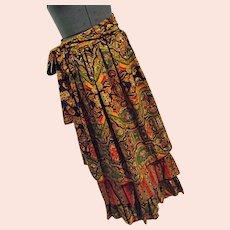 BOHO Vintage 1970s Ellen Tracy Hippy Gypsy Maxi Skirt 3 Tier Flouncy Bright Colors 11