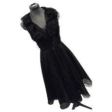 Vintage Lillie Rubin Womens Black Chiffon Halter Party Cocktail Dress Ruffles Sz 4
