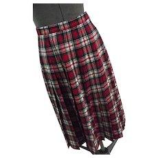 EXCELLENT Vintage Pendleton Wool Dress Macduff Tartan Plaid Pleated Skirt Christmas