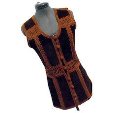 BOHO Hippy Festival Vintage 1970s Womens Tami Tarri Vest Leather & Crocheted Button