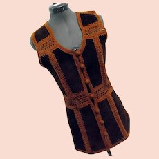BOHO Hippy Festival Vintage 1970s Womens Tami Tarri Vest Leather & Crocheted Button
