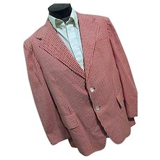 Vintage Wardman Park Mens Red White Gingham Check Blazer Sport Coat 44R