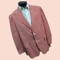 Vintage Wardman Park Mens Red White Gingham Check Blazer Sport Coat 44R