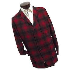 ROCKABILLY Vintage 1950s Pendleton Mens Red Shadow Plaid 100% Wool 49er Jacket Lg