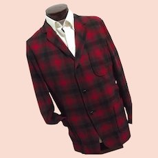 ROCKABILLY Vintage 1950s Pendleton Mens Red Shadow Plaid 100% Wool 49er Jacket Lg