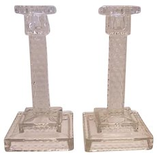FOSTORIA AMERICAN Vintage Crystal Glass Pair of Square Step Candlesticks Holder #2056