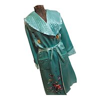 Vintage 1950s Womens Chinese Silk Long Robe Green Embroidered Quilted Med