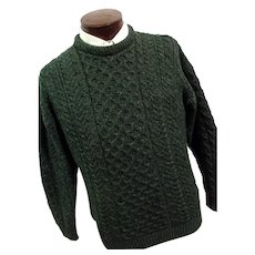 Vintage Carraig Donn Ireland Mens 100% Wool Fishermans Cable Knit Sweater Green