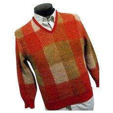 ATOMIC Vintage 1960s Pendleton Mens 100% Wool V Neck Sweater Orange Plaid Sm-Med