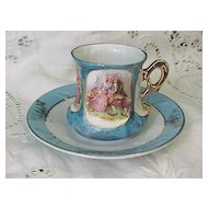 Porcelain Demitasse Demi Cup and Saucer