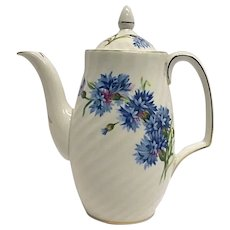 Royal Adderley Bone China England Blue Cornflower Mini Coffeepot & Lid NICE