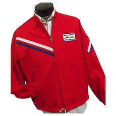 ESTATE New Vintage Aircraft Owners & Pilots Assoc Mens Red Racer Jacket Flight Apparel