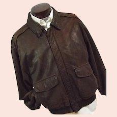 SUPE SOFT Golden Bear Mens Vintage DISTRESSED Goatskin Leather Bomber Jacket Thinsulate