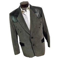 ROCKABILLY Vintage Pioneer Wear Mens Western Blazer Gray Corduroy Black Leather Trim 46