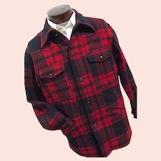 ATOMIC Vtg 1970s Pendleton Mens 100% Wool Car Coat Jacket Plaid Red Navy Blue Lg